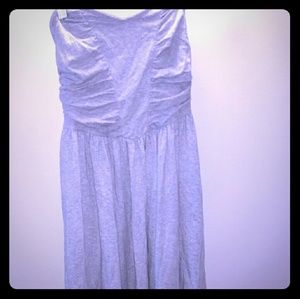 Grey cotton A-line midi dress